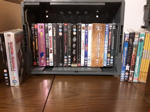 Lot 1021 BOX OF APPROXIMATELY 25 ASSORTED DVD'S TO INCLUDE; THE GREATEST SHOWMAN, DEADPOOL, FANTASTIC BEASTS ETC