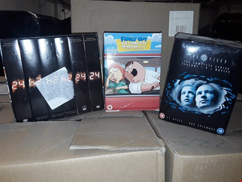 Lot 4137 JOB LOT OF DVDS, CDS TO INCLUDE THE X FILES, 24, FAMILY GUY (4 boxes)