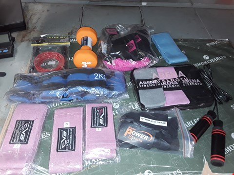 Lot 1344 LOT OF APPROXIMATELY 11 ASSORTED FITNESS ITEMS TO INCLUDE SKIPPING ROPE, DUMBBELL, WEIGHT TRAINING