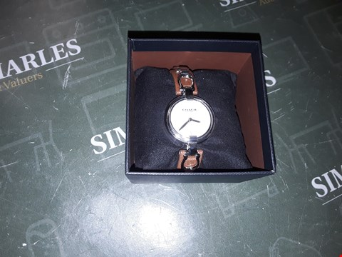 Lot 2020 COACH SILVER DIAL BROWN LEATHER AND STAINLESS STEEL WATCH  RRP £230.00
