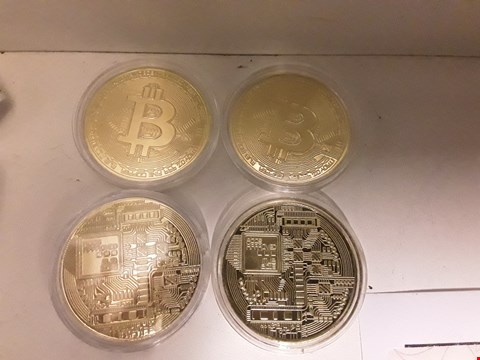 Lot 9381 FOUR MJB MONETARY METALS BITCOIN 2013 CIRCUIT BOARD DESIGN COINS 40mm diam in plastic cases