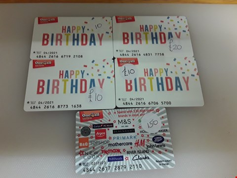 Lot 41 5 ASSORTED ONE 4 ALL GIFT CARDS TOTAL VALUE £200