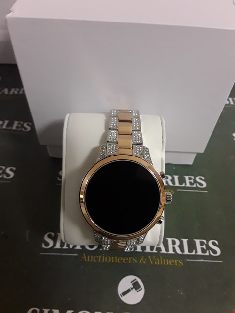 Lot 2348 MICHAEL KORS ACCESS FULL DISPLAY AND ROSE GOLD DETAIL DIAL TWO TONE STAINLESS STEEL BRACELET SMART WATCH RRP £389.00
