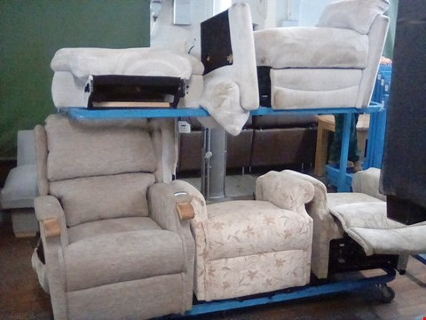 Lot 83 FOUR ASSORTED DESIGNER ARMCHAIRS AND PARTS, INCLUDING BEIGE PATTERNED ELECTRIC RECLINING ARMCHAIR AND BEIGE PATTERENED POWER RECLINING ARMCHAIR SECTION