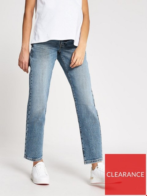 Lot 3738 BRAND NEW RIVER ISLAND MATERNITY OVER BUMP STRAIGHT LEG JEANS - MID AUTHENTIC SIZE 12