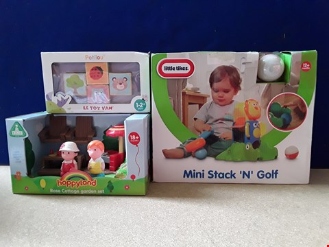 Lot 5096 THREE ASSORTED BOXED BABY TOYS, INCLUDING HAPPYLAND ROSE COTTAGE GARDEN SET AND LITTLE TIKES MINI STACK N GOLF