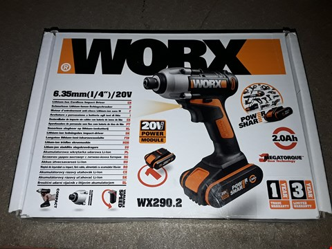 Lot 1214 WORX WX290.2 CORDLESS IMPACT DRIVER WITH X1 2. OAH