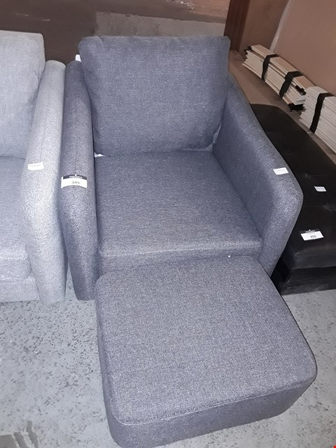 Lot 162 DESIGNER CHARCOAL FABRIC OCCASSIONAL CHAIR WITH FOOTSTOOL