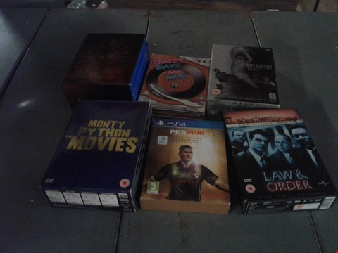 Lot 4400 4 BOXES OF ASSORTED MEDIA ITEMS TO INCLUDE PES2016 PRO EVOLUTION SOCCER, MONTY PYTHON THE MOVIES AND BO' SELECTA! TRILOGY