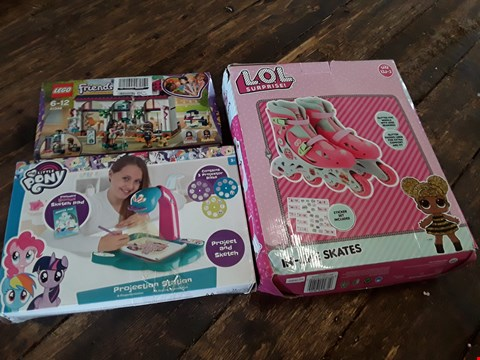 Lot 11205 LOT OF 3 GRADE 1 CHILDREN'S TOYS INCLUDES LEGO FRIENDS 41344, MY LITTLE PONY PRJECTION STATION AND LOL SURPRISE ROLLER SKATES
