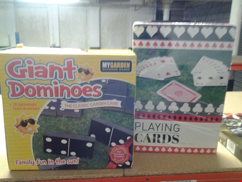 Lot 339 BOXED MY GARDEN GIANT DOMINOES AND GIANT PLAYING CARDS