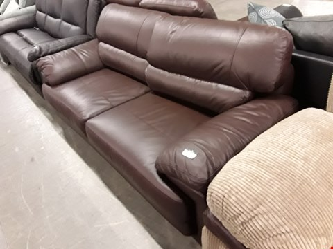Lot 350 DESIGNER BROWN FAUX LEATHER 3 SEATER SOFA