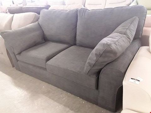 Lot 96 QUALITY BRITISH DESIGNER RAMSDEN CHARCOAL FABRIC TWO SEATER SOFA WITH BOLSTER CUSHIONS