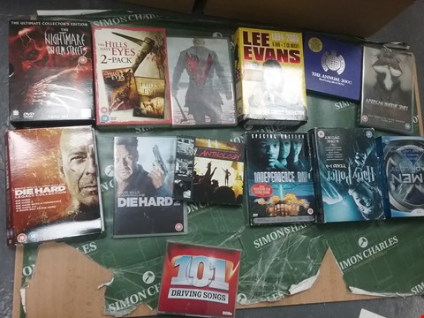 Lot 12080 A BOX OF APPROXIMATELY 20 ASSORTED DVD/BOXSETS TO INCLUDE THE HILLS HAVE EYES 2 PACK DVD SET AND A AMERICAN HORROR STORY DVD