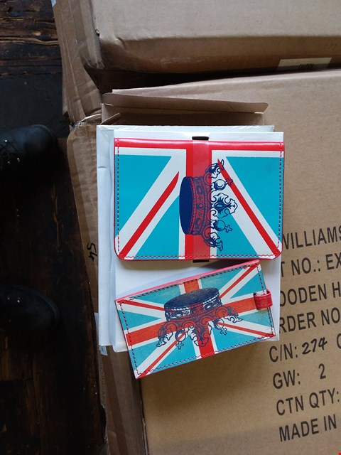 Lot 55 LOT OF 2 BOXES OF UNION JACK PASSPORT HOLDER AND LUGGAGE TAG SETS APPROX 111