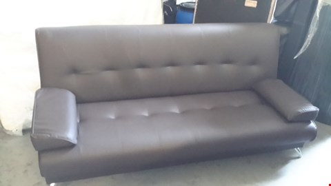 Lot 27 DESIGNER BROWN LEATHER CLICK-CLACK SOFA BED