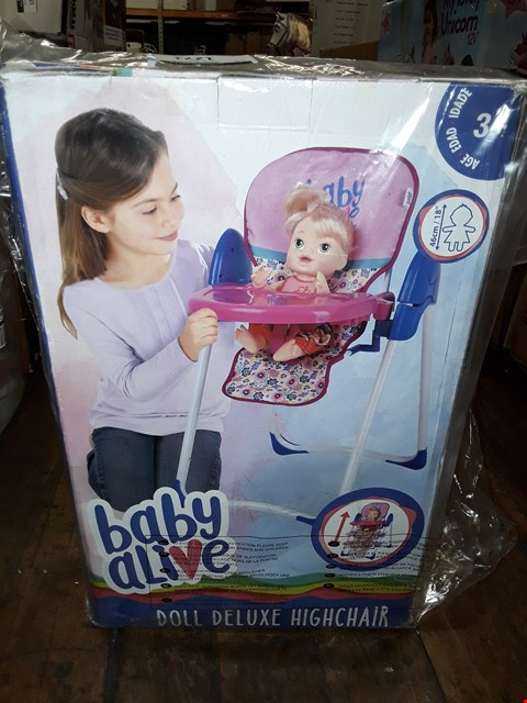 Lot 1271 LOT OF 2 ITEMS TO INCLUDE BABY ALIVE 3 IN 1 HIGH CHAIR, GENEVA EASY FIT PENDANT RRP £68