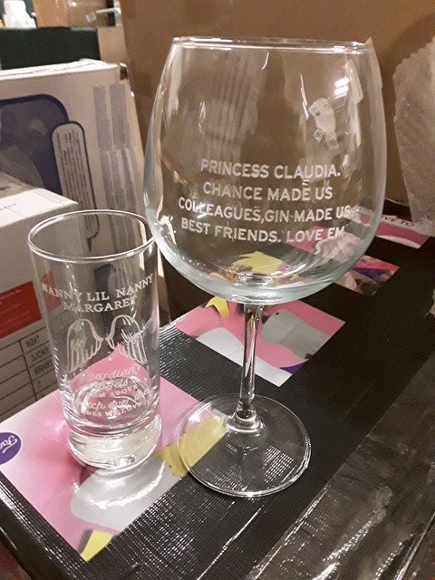 Lot 1506 LOT OF 2 ASSORTED BOXED ITEMS TO INCLUDE PERSONALISED LARGE WINE GLASS, PERSONALISED GUARDIAN ANGEL WINGS GLASS RRP £42