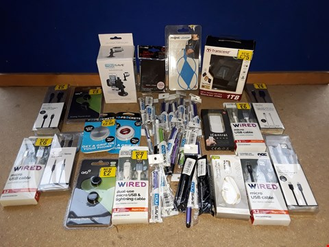 Lot 2235 BOX OF APPROXIMATELY 341 ASSORTED ITEMS TO INCLUDE TRANSCEND 1TB PORTABLE HARD DRIVE, YOUSAVE ACCESSORIES STYLUS PENS, WIRED MICRO USB CABLES (SOME WATER DAMAGED)