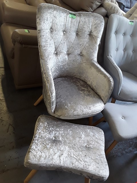 Lot 243 DESIGNER SILVER CRUSHED VELVET ALTON BUTTON BACK CHAIR AND FOOTSTOOL  RRP £249.99