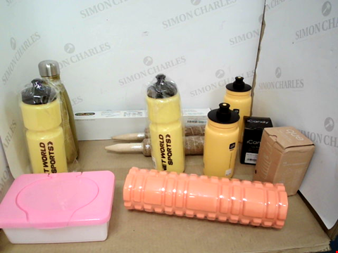 Lot 10775 BOX OF APPROXIMATELY 12 ASSORTED HOUSEHOLD PRODUCTS TO INCLUDE DESIGNER WATER BOTTLES, ICANDY CLAMP, DESIGNER PLASTIC STORAGE BOX ETC