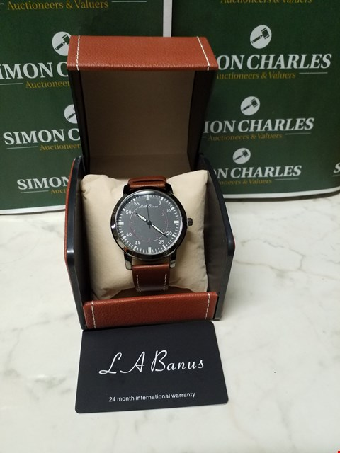 Lot 4568 L. A BANUS BLACK STAINLESS STEEL WATCH WITH BROWN LEATHER WRIST STRAP