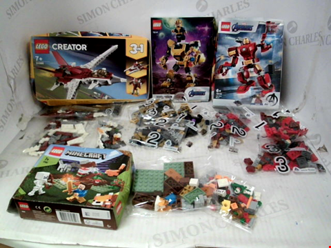 Lot 10036 LOT OF APPROXIMATELY 4 LEGO SETS TO INCLUDE THANOS MECH SUIT, IRON MAN MECH SUIT, CREATOR PLANE AND MINECRAFT TAIGA ADVENTURE RRP £56.00
