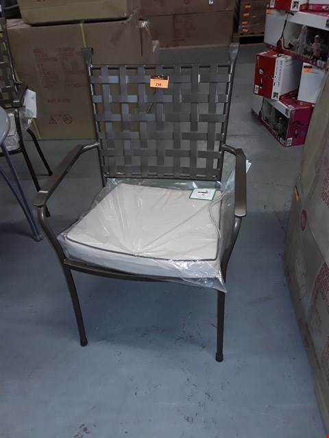 Lot 416 SET OF FOUR BRAND NEW VESTAVIA BRONZE METAL STACKING PATIO DINING ARMCHAIRS RRP £500