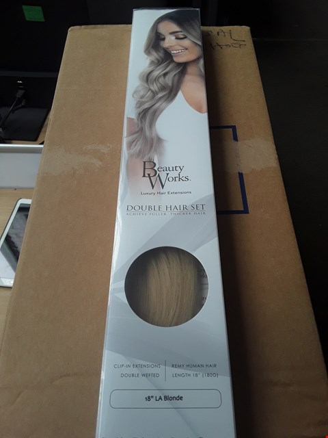 Lot 55 BEAUTY WORKS DOUBLE HAIR SET CLIP-IN EXTENSIONS 18 INCH 100% REMY HAIR - 180 GRAMS RRP £235.00