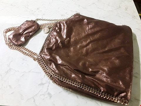 Lot 611 STELLA MCCARTNEY STYLE SHIMMERING BRONZE LARGE HAND BAG