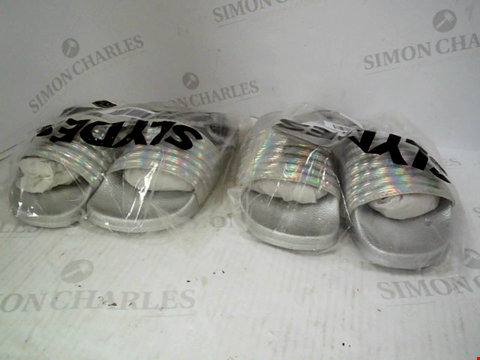 Lot 1336 2 ASSORTED PAIRS OF SILVER SLYDES SANDALS