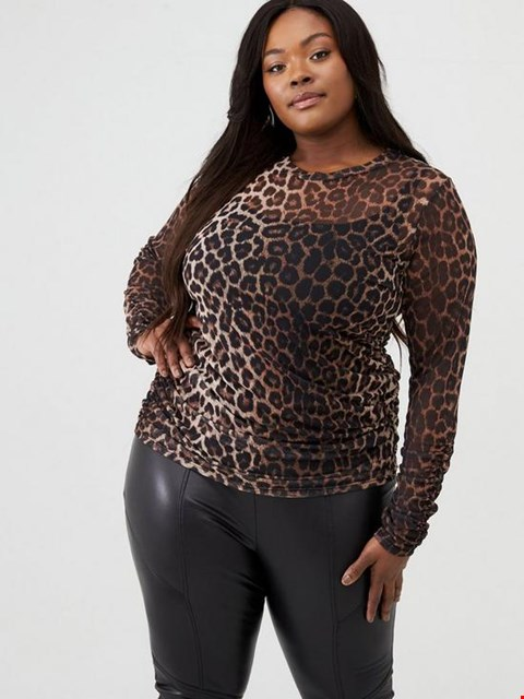 Lot 7348 BRAND NEW V BY VERY CURVE ROUCHE ANIMAL PRINT MESH TOP  - SIZE 24 UK