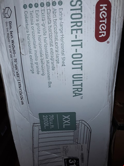 Lot 1036 BOXED KETER STORE IT OUT ULTRA WHEELIE BIN SHED RRP £270.00