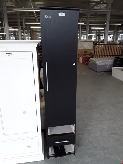 Lot 7001 DESIGNER BLACK SINGLE DOOR WARDROBE ON 3 DRAWER BASE