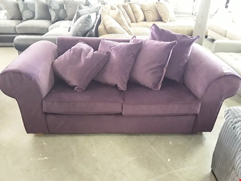 Lot 350 DESIGNER PURPLE FABRIC MECHANICAL ACTION 2 SEATER SOFA BED