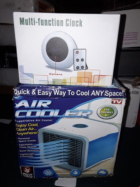 Lot 992 LOT OF 2 ITEMS TO INCLUDE AIR COOLER AND MULTI-FUNCTION CLOCK