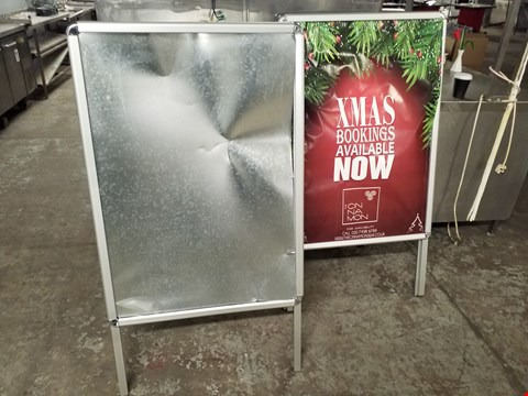 Lot 75 LOT OF 2 POINT OF SALE FOLDABLE METAL ADVERTISING BOARDS - ADVERTISING SPACE 66X99CM