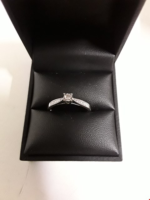 Lot 159 LOVE DIAMOND 9CT WHITE GOLD 19 POINT DIAMOND ENGAGEMENT RING RRP £349