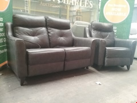 Lot 7 QUALITY BRITISH MADE HARDWOOD FRAMED BLACK LEATHER RECLINING 2 SEATER SOFA AND RECLINING ARM CHAIR