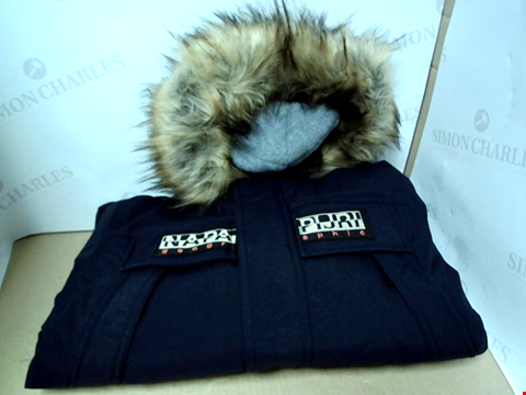 Lot 7181 NAPAPIJRI BOYS SKIDOO FAUX FUR HOODED NAVY PARKA COAT - SIZE 10 YEARS