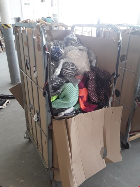 Lot 192 CAGE OF APPROXIMATELY 317 ASSORTED CLOTHING ITEMS TO INCLUDE: SUPERDRY COAT, GANK JACKET, ADIDAS JACKET, HOLLISTER CARDIGAN, LEATHER JAVKET, ENGLAND RUGBY HOODED TOP ETC