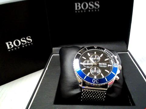 Lot 5513 BOSS OCEAN EDITION BLACK AND BLUE DETAIL CHRONOGRAPH DIAL STAINLESS STEEL MESH STRAP MENS WATCH RRP £459.00
