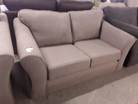 Lot 95 QUALITY BRITISH DESIGNER ABBEY GREY FABRIC TWO SEATER SOFA