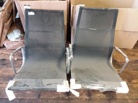 Lot 610 LOT OF 2 BLACK FABRIC CHROME FRAMED DESK CHAIRS (LEGS MISSING)