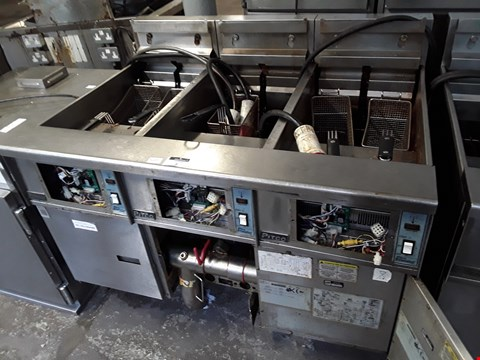 Lot 13509 PITCO LARGE THREE PLACE FRYER WITH 5 BASKETS