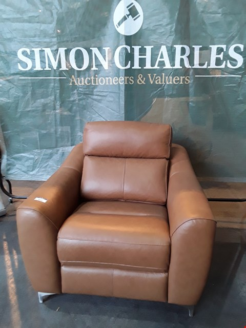 Lot 9029 QUALITY BRITISH MADE HARDWOOD FRAMED BROWN LEATHER ARMCHAIR