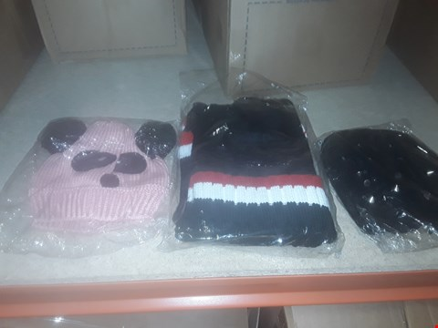 Lot 1094 BOX OF APPROXIMATELY 70 ASSORTED BRAND NEW HATS TO INCLUDE KITTED BOBBLE HATS HOBBS, BEANIES AND HAT AND SCARF SETS