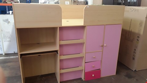 Lot 80 CHILDS PINK MID SLEEPER WITH DESK & WARDROBE BELOW