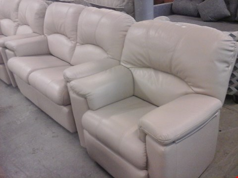 Lot 10 QUALITY BRITISH MADE HARDWOOD FRAMED STONE LEATHER 2 SEATER SOFA AND STONE LEATHER RECLINER CHAIR