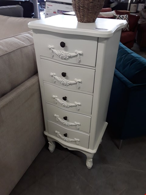 Lot 27 DESIGNER WHITE FINISH ORNATE 5 DRAWER NARROW CHEST